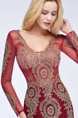 Schöne Abendkleider Mit Ärmel | Rote Abiballkleider Lang_9