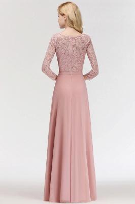 Abiballkleider mit Ärmel   Rosa Abendkleid Lang_4