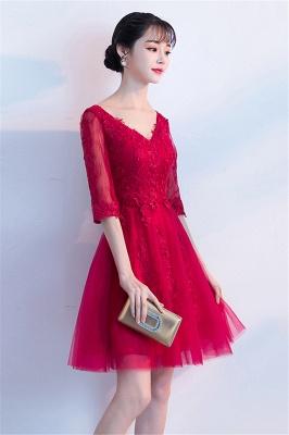 Cocktailkleider Knielang mit Ärmel | Rote Abendkleider Kurz_8