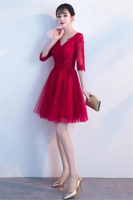 Cocktailkleider Knielang mit Ärmel | Rote Abendkleider Kurz_7