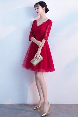Cocktailkleider Knielang mit Ärmel | Rote Abendkleider Kurz_6