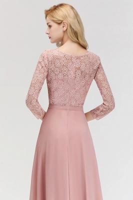 Abiballkleider mit Ärmel   Rosa Abendkleid Lang_8