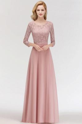 Abiballkleider mit Ärmel   Rosa Abendkleid Lang_3