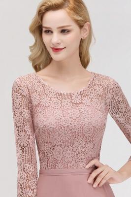 Abiballkleider mit Ärmel   Rosa Abendkleid Lang_10