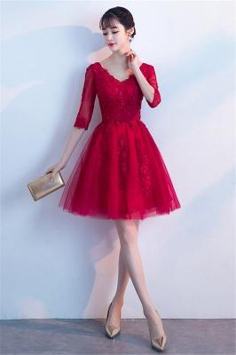Cocktailkleider Knielang mit Ärmel | Rote Abendkleider Kurz_5