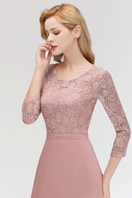 Abiballkleider mit Ärmel   Rosa Abendkleid Lang_9