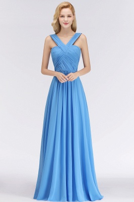 Heller Blau Abendkleider Lang Günstig | Brautjungfernkleider Chiffon