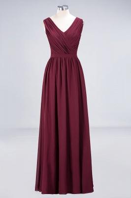 Abendkleid Lang V Ausschnitt | Brautjungfernkleider Günstig Weinrot_7