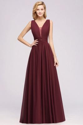 Weinrot Brautjungfernkleider Lang Chiffon | Abendkleider V Auschnitt