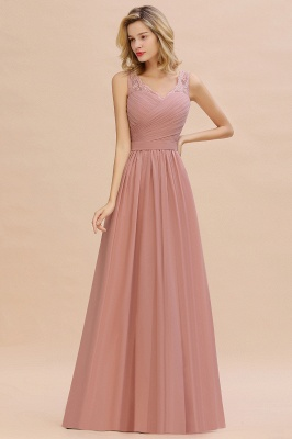 Altrosa Brautjungfernkleider Lang   Abendkleider Chiffon_5