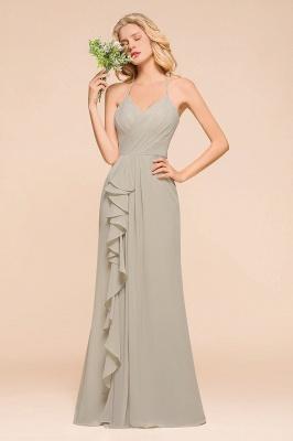 Silber Brautjungfernkleider Günstig   Hochzeitspartykleider Lang Chiffon_1
