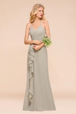 Silber Brautjungfernkleider Günstig   Hochzeitspartykleider Lang Chiffon_4
