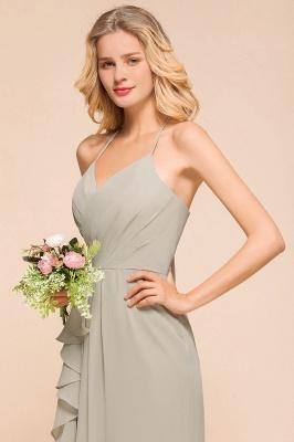 Silber Brautjungfernkleider Günstig   Hochzeitspartykleider Lang Chiffon_8