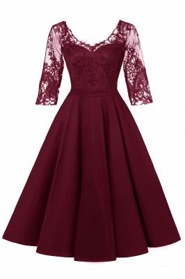 Abendkleider Mit Ärmel Rot   Cocktailkleid Kurz_1