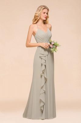 Silber Brautjungfernkleider Günstig   Hochzeitspartykleider Lang Chiffon_6