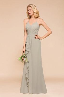 Silber Brautjungfernkleider Günstig   Hochzeitspartykleider Lang Chiffon_5