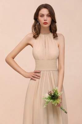Champagne Brautjungfernkleider Lang Chiffon | Günstiges Brautjungfernkleid_9