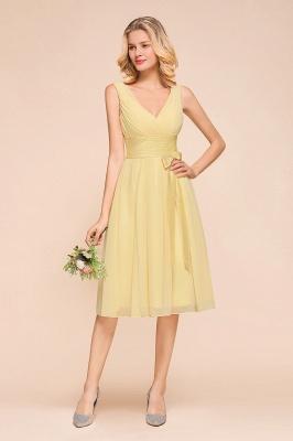 Gelb Brautjungfernkleider Kurz | Chiffon Kleider Zur Hochzeit_1