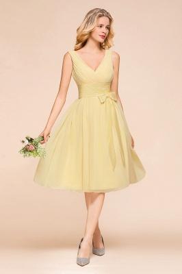 Gelb Brautjungfernkleider Kurz | Chiffon Kleider Zur Hochzeit_5