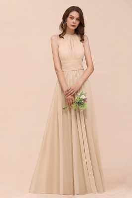 Champagne Brautjungfernkleider Lang Chiffon | Günstiges Brautjungfernkleid_5
