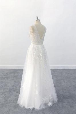 Brautkleid V Ausschnit   Schlichte Hochzeitskleider mit Spitze_6