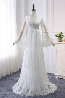 Elegante Hochzeitskleider mit Ärmel | Brautkleid Spitze Online_2
