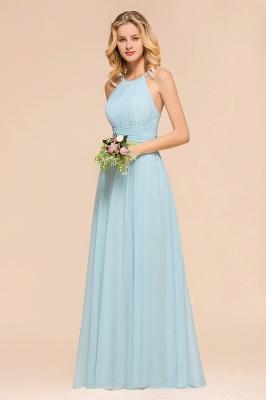 Brautjungfernkleider Lang Günstig Blau   Chiffon Kleider Kaufen_6