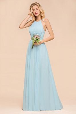 Brautjungfernkleider Lang Günstig Blau   Chiffon Kleider Kaufen_5
