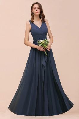 Elegante Brautjungfernkleider Lang Günstig | Blaue Chiffon Kleider_8