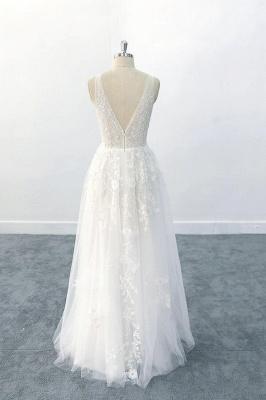 Brautkleid V Ausschnit   Schlichte Hochzeitskleider mit Spitze_3