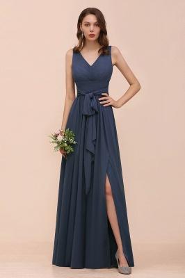 Elegante Brautjungfernkleider Lang Günstig | Blaue Chiffon Kleider_1