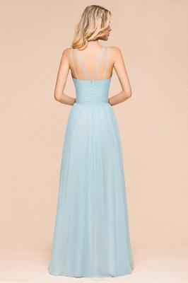 Brautjungfernkleider Lang Günstig Blau   Chiffon Kleider Kaufen_3