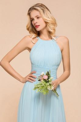 Brautjungfernkleider Lang Günstig Blau   Chiffon Kleider Kaufen_8