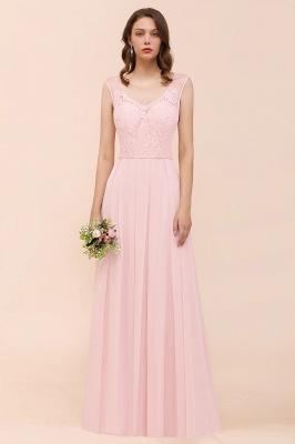 Elegante Brautjungfernkleider Lang Rosa | Hochzeitspartykleider Online_1