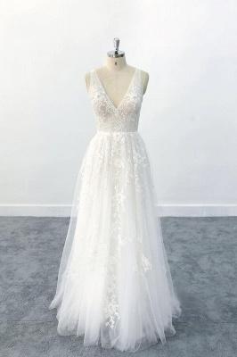 Brautkleid V Ausschnit   Schlichte Hochzeitskleider mit Spitze_1