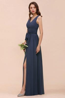 Elegante Brautjungfernkleider Lang Günstig | Blaue Chiffon Kleider_9