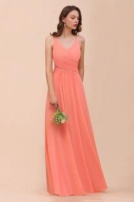 Schlichtes Partykleid | Orange Brautjungfernkleider Lang Günstig_7