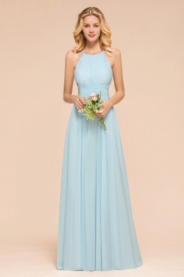 Brautjungfernkleider Lang Günstig Blau   Chiffon Kleider Kaufen_1