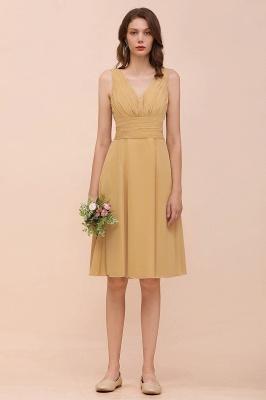 Brautjungfernkleider Gold | Kurzes Brautjungfernkleid Günstig_5