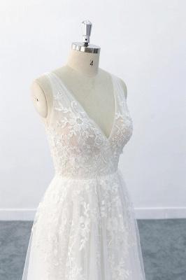 Brautkleid V Ausschnit   Schlichte Hochzeitskleider mit Spitze_7
