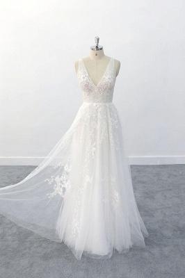 Brautkleid V Ausschnit   Schlichte Hochzeitskleider mit Spitze_5