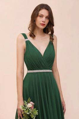 Grüne Brautjungfernkleider Günstig | Chiffon Kleider Abendmoden Lang_9