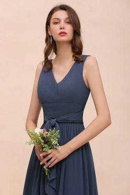 Elegante Brautjungfernkleider Lang Günstig | Blaue Chiffon Kleider_6