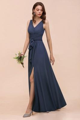 Elegante Brautjungfernkleider Lang Günstig | Blaue Chiffon Kleider_4