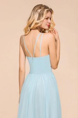 Brautjungfernkleider Lang Günstig Blau   Chiffon Kleider Kaufen_9