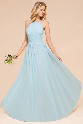 Brautjungfernkleider Lang Günstig Blau   Chiffon Kleider Kaufen_4