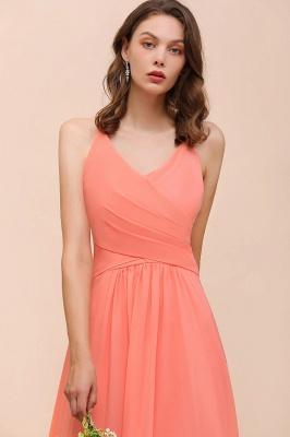 Schlichtes Partykleid | Orange Brautjungfernkleider Lang Günstig_8