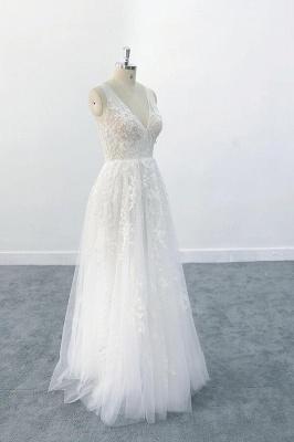 Brautkleid V Ausschnit   Schlichte Hochzeitskleider mit Spitze_4