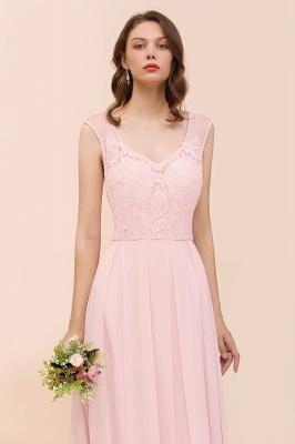 Elegante Brautjungfernkleider Lang Rosa | Hochzeitspartykleider Online_8