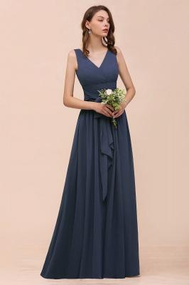 Elegante Brautjungfernkleider Lang Günstig | Blaue Chiffon Kleider_7